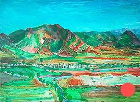 Vista de Rodalquilar con cerro de la Hortichuela