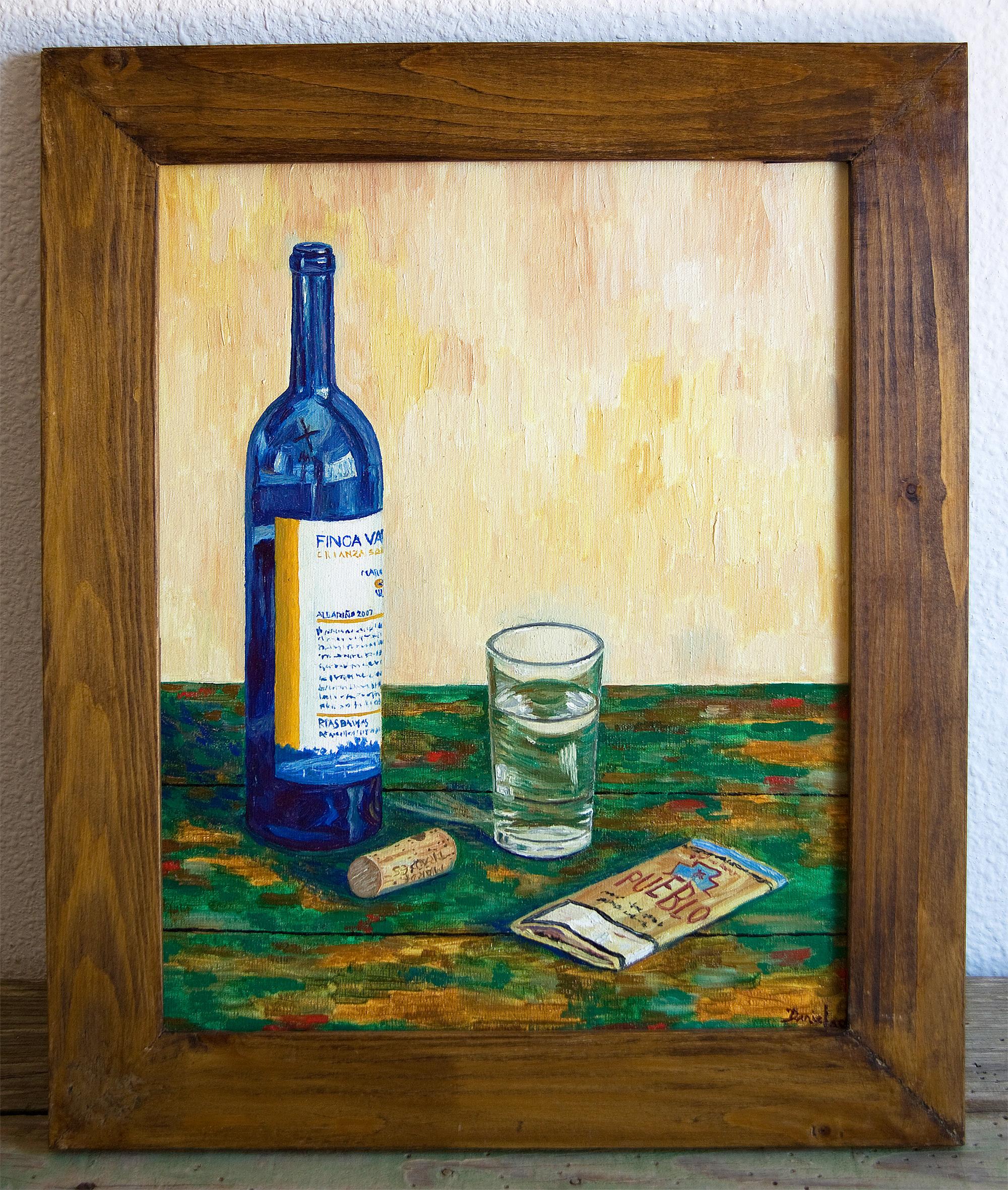 Bodegón con botella, vaso y tabaco