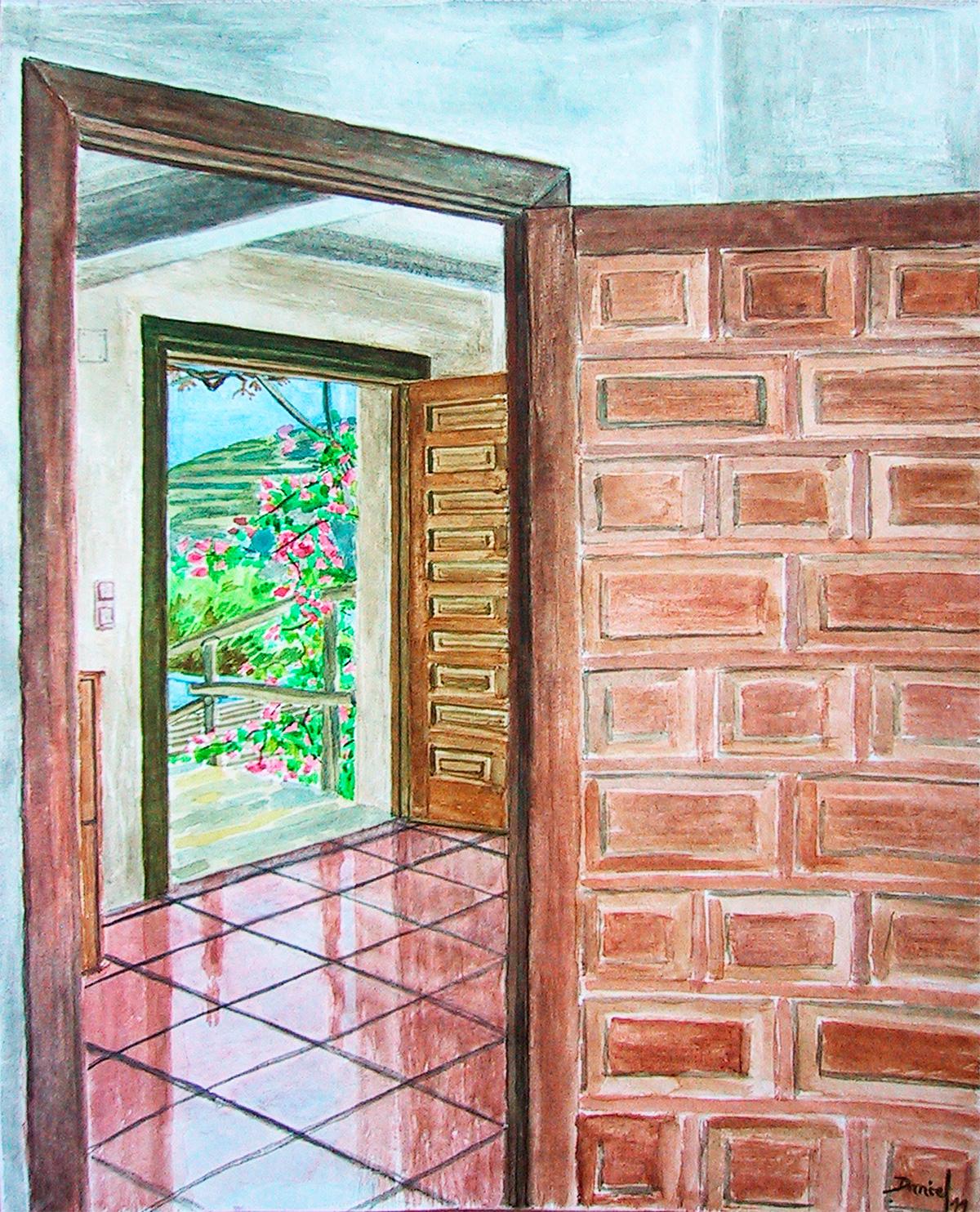 Interior con dos puertas abiertas
