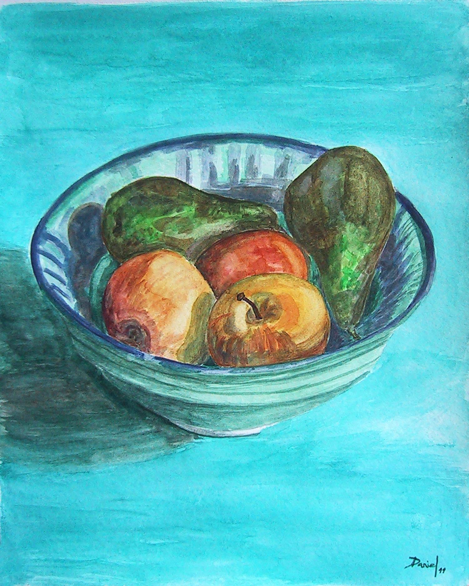 Fuente con peras y manzanas