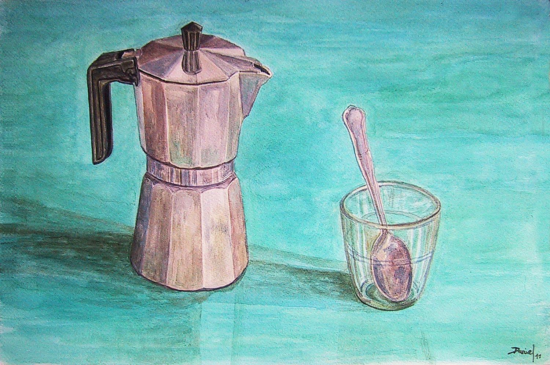 Cafetera con vaso y cuchara