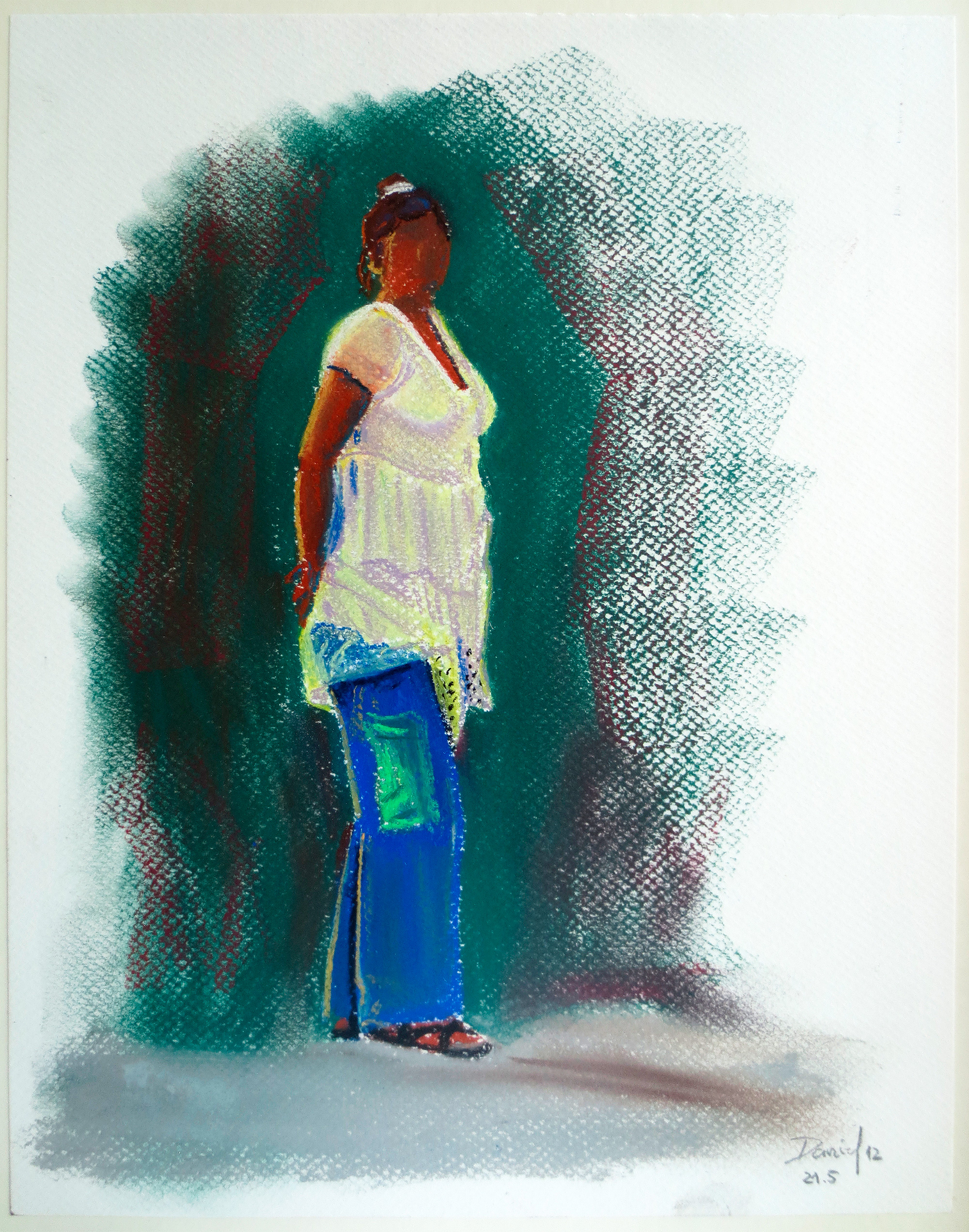 Retrato con pantalón azul