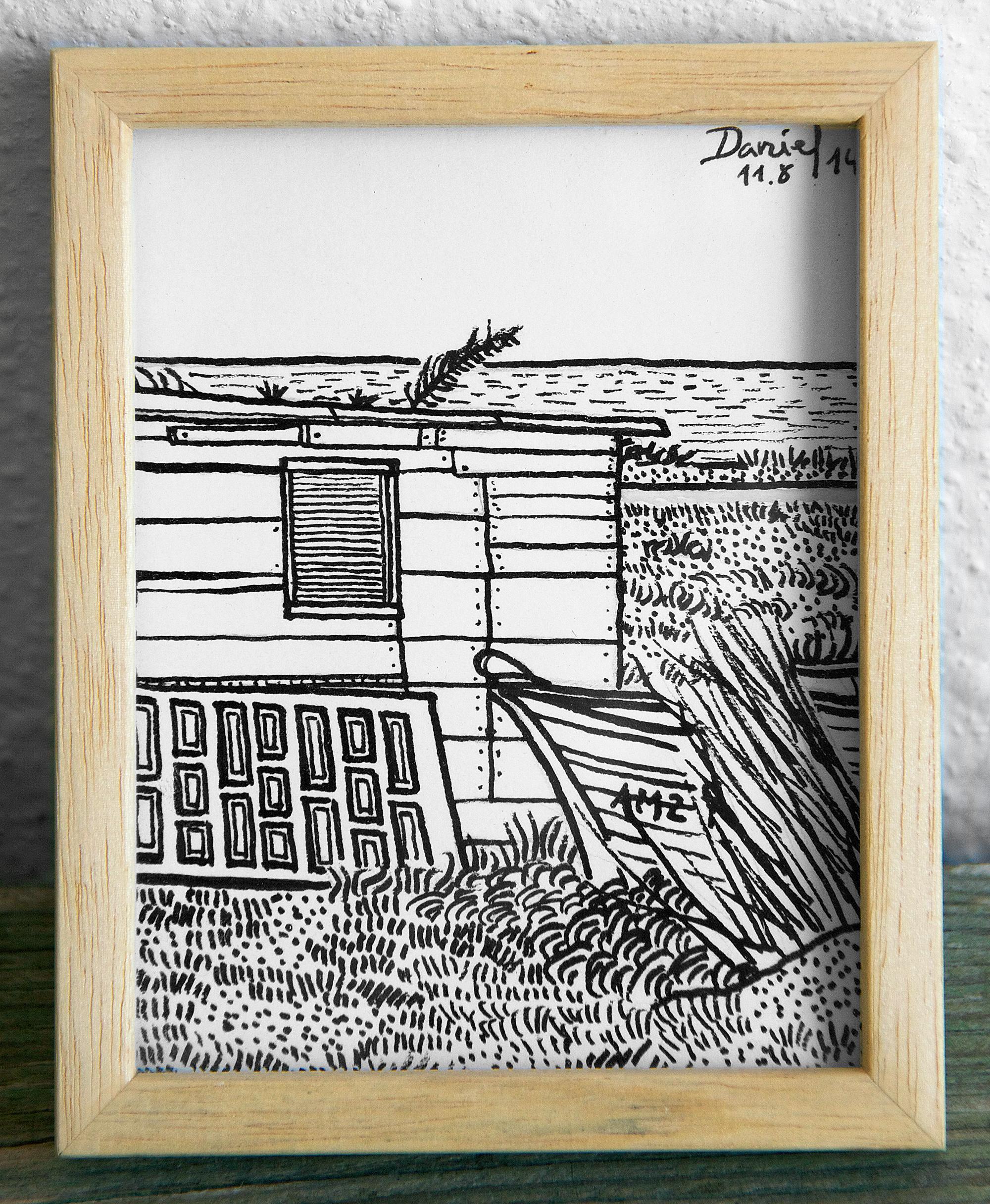 Caseta de pescador con barca y puerta