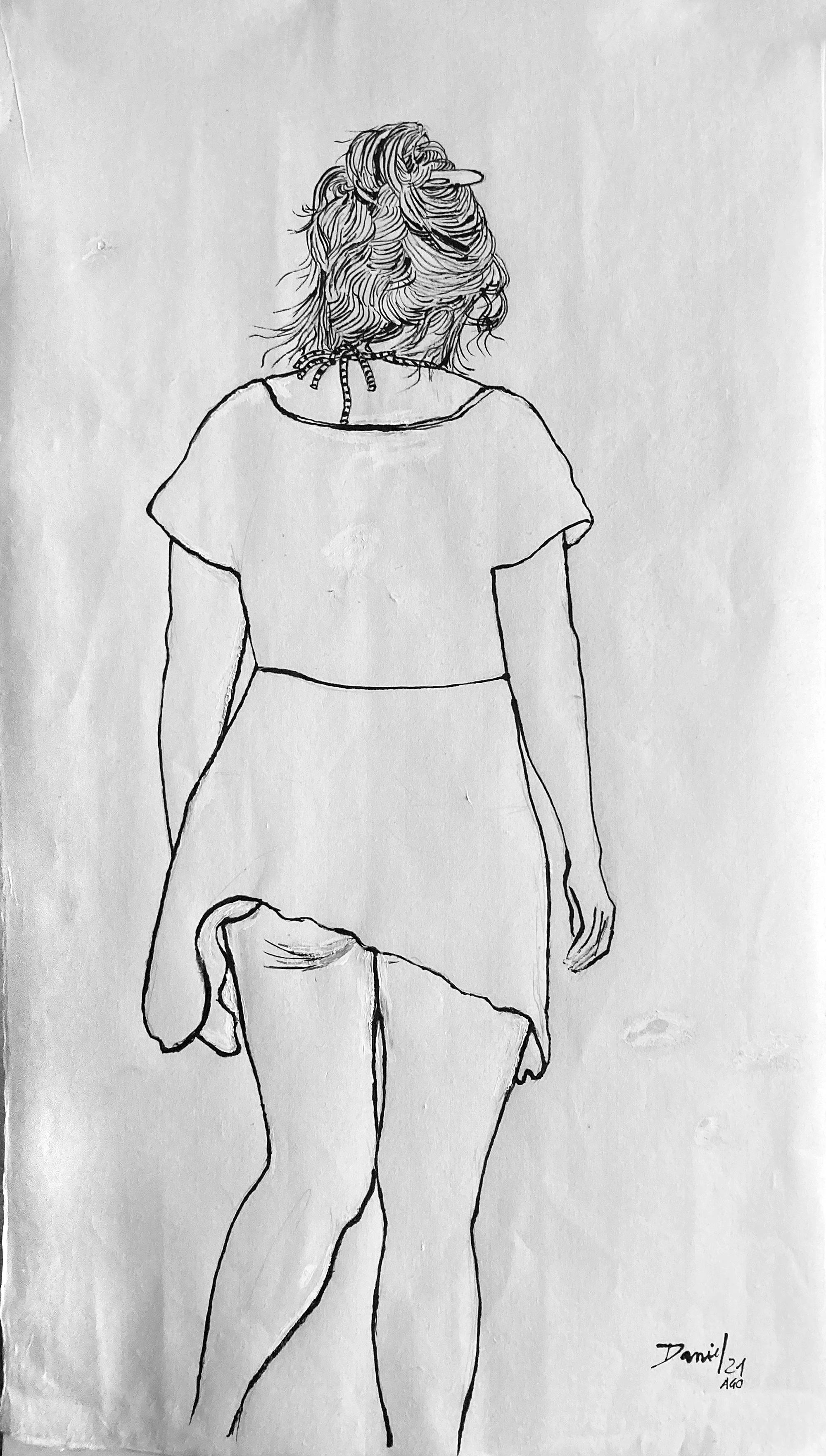 Figura de espaldas con pelo recogido