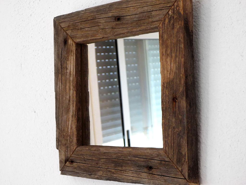 Espejo rústico marco negro