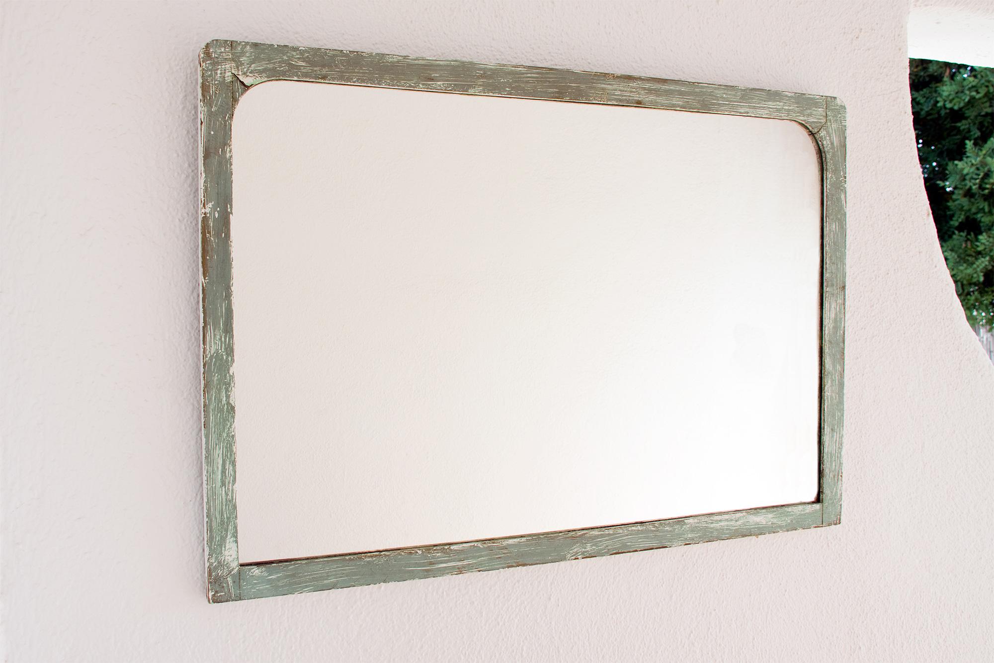 Espejo marco verde envejecido