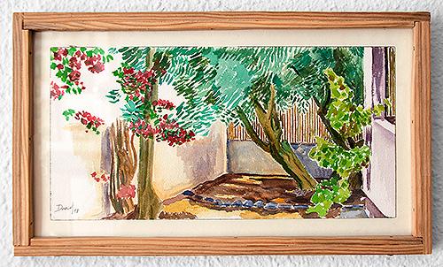 Rincón con olivo, bungavilla y viñedo