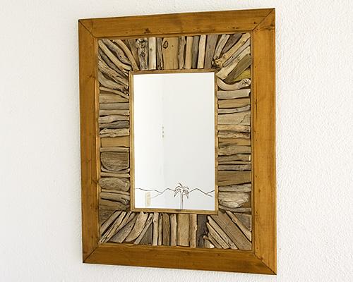 Espejo marco maderas recicladas