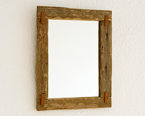 Aged rustic mirror with assemblies