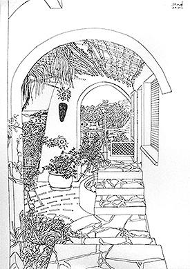 Terraza con escalera y macetas