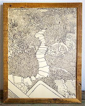 Jardín con escalera de piedra