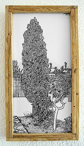 Ciprés con valla de cañizo