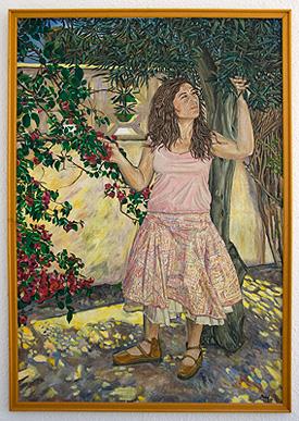 Mujer con olivo y bungavilla