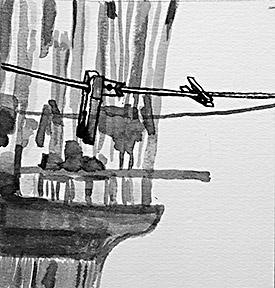 Tres pinzas en una cuerda