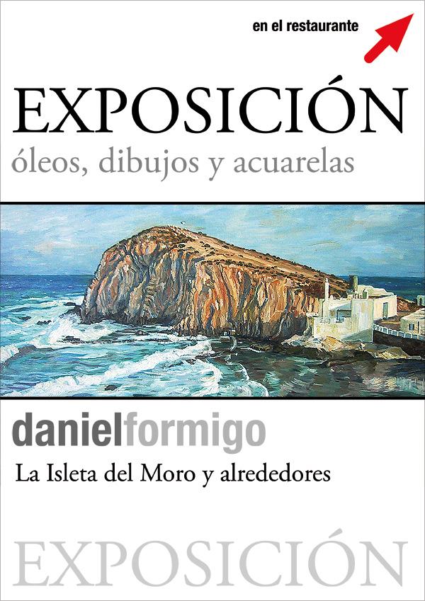 Art exhibition of paintings and drawings in Restaurant la Ola in Isleta del Moro, Almería.