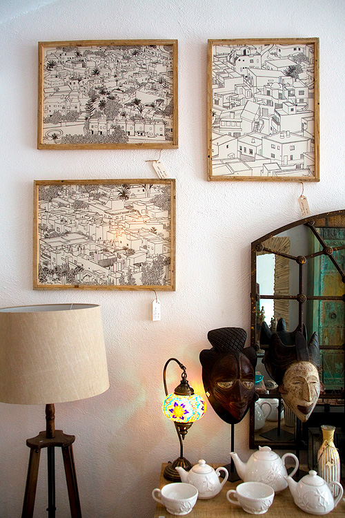 Giving art, three ink drawings from the set Barriadas del Cabo de Gata